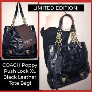 LTD ED! COACH Poppy Push Lock Blk Leather Tote Bag
